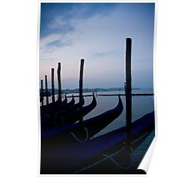 Gondolas In Venetian Blue Poster
