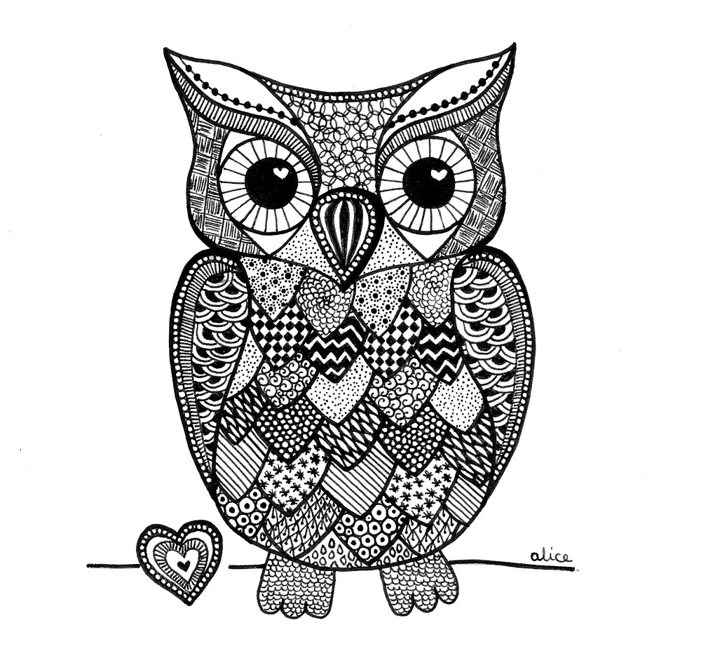 Quot Black Amp White Zentangle Inspired Owl With Heart Quot By Alice