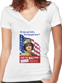 Join The WAC Now -- Army Recruiting Women's Fitted V-Neck T-Shirt