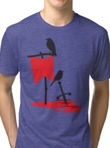 Black crows standing vigil on a blood red battlefield Tri-blend T-Shirt