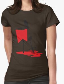 Black crows standing vigil on a blood red battlefield Womens Fitted T-Shirt