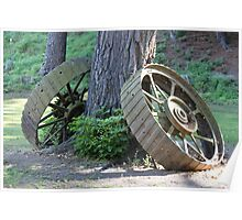 Old Traction Engine Wheels. Poster