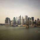 The Manhattan Skyline and the Brooklyn Bridge by Vivienne Gucwa