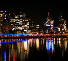 Melbourne skyline by night by EblePhilippe