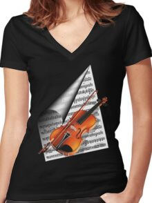 For the love of Music.. Women's Fitted V-Neck T-Shirt