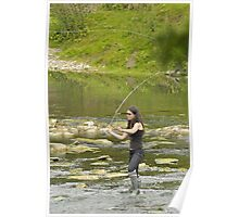 A Lady Flyfishing - Yorkshire Poster