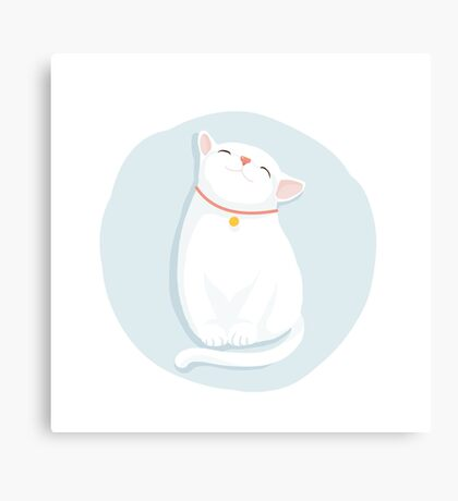 Cat White Canvas Print