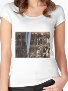 Carousel with a vintage/sepia tone Women's Fitted Scoop T-Shirt