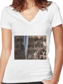 Carousel with a vintage/sepia tone Women's Fitted V-Neck T-Shirt