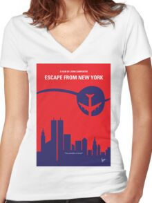 No219 My Escape from New York minimal movie poster Women's Fitted V-Neck T-Shirt
