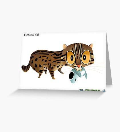 Fishing Cat Greeting Card