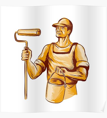 House Painter Holding Paint Roller Etching Poster