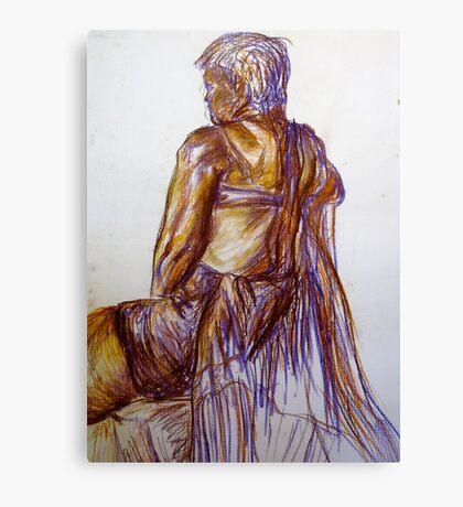Chalk Pastel Figure Drawing Canvas Print