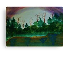 Pine Trees at Dusk by Lake, revised Watercolor Canvas Print