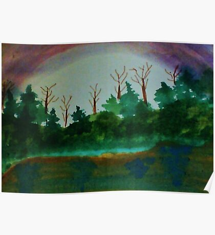 Pine Trees at Dusk by Lake, revised Watercolor Poster