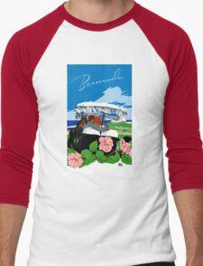 Bermuda Vintage Travel Poster Restored Men's Baseball ¾ T-Shirt