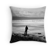 Wintery Beach Throw Pillow