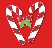 CANDY CANES with bow and cute holly Christmas One Piece - Short Sleeve