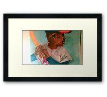 HAMMERING HANK Aaron Framed Print