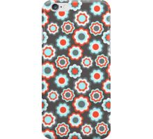 Red teal gray vintage retro girly pattern iPhone Case/Skin