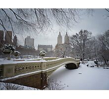 Bow Bridge Central Park in Winter Photographic Print