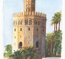 Torre Del Oro, Sevilla, Spain by Dai Wynn