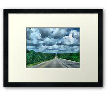 A Cloudy Drive Framed Print