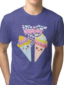 I love you Kawaii Ice cream waffle cone Tri-blend T-Shirt