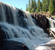 Gooseberry Falls, waterfall in shade, close shot by joannarne