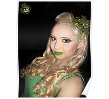 Green Pin Up - Self Portrait Poster