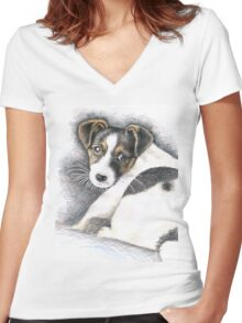Jack Russell Terrier Puppy Women's Fitted V-Neck T-Shirt