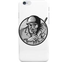 World War Two Soldier American Calling Radio Circle Etching iPhone Case/Skin