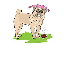 Pink Puggy Pug Dog girl with cute little bow Photographic Print