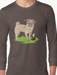 Pink Puggy Pug Dog girl with cute little bow Long Sleeve T-Shirt