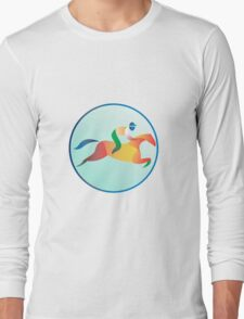 Equestrian Show Jumping Circle Retro Long Sleeve T-Shirt