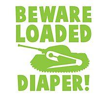 BEWARE loaded diaper in green Photographic Print