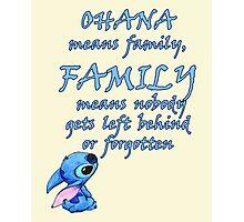 Lilo & Stitch (DIsney) - Ohana Family Quote Photographic Print