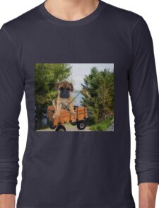 AW LOOKI THERE I CAUGHT A BITE..CUTE PUG CANINE GOES FISHING ..PICTURE...PILLOW...TOTE BAG...ECT... Long Sleeve T-Shirt