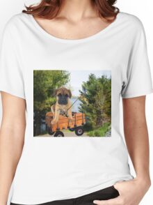 AW LOOKI THERE I CAUGHT A BITE..CUTE PUG CANINE GOES FISHING ..PICTURE...PILLOW...TOTE BAG...ECT... Women's Relaxed Fit T-Shirt