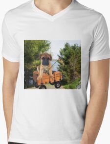 AW LOOKI THERE I CAUGHT A BITE..CUTE PUG CANINE GOES FISHING ..PICTURE...PILLOW...TOTE BAG...ECT... Mens V-Neck T-Shirt