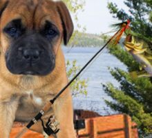 AW LOOKI THERE I CAUGHT A BITE..CUTE PUG CANINE GOES FISHING ..PICTURE...PILLOW...TOTE BAG...ECT... Sticker