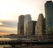 Sunset at Pier 17 South Street Seaport New York City by Vivienne Gucwa