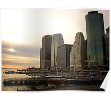 Sunset at Pier 17 South Street Seaport New York City Poster