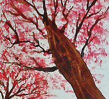 Looking Up Thru Blooming Tree, watercolor by Anna  Lewis, blind artist