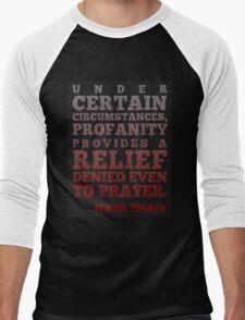 Mark Twain on Profanity Men's Baseball ¾ T-Shirt