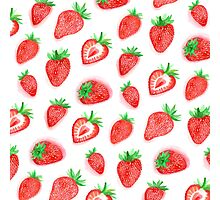 Watercolour Strawberries Photographic Print