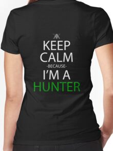 hunter x hunter keep calm because i'm a hunter anime manga shirt Women's Fitted V-Neck T-Shirt