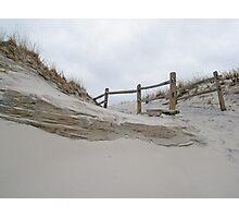 Sand Dune and Split Rail Fence Photographic Print