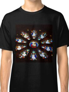 Circular Stained Glass Window At St Michaels Mount Church,Cornwall  Classic T-Shirt