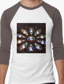 Circular Stained Glass Window At St Michaels Mount Church,Cornwall  Men's Baseball ¾ T-Shirt
